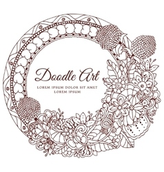 Round floral frame Doodle vector