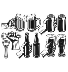 set beer object vector image