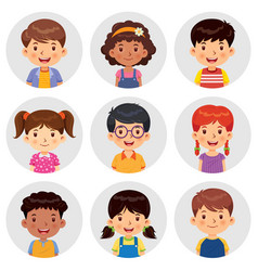 Set different avatars boys and girls vector