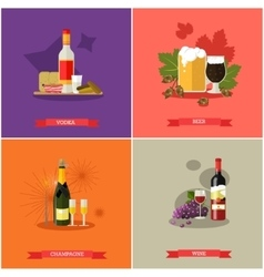 set of alcoholic beverages flat design vector image