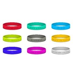 Set of multicolored rubber wristband vector