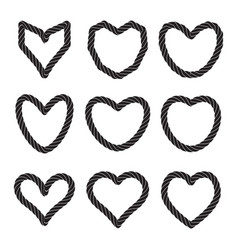 Set of rope heart icons or love symbol isolated vector