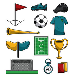 set of soccer elements vector image