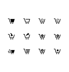 Shopping cart icons on white background vector image vector image
