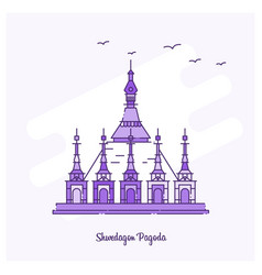 Shwedagon pagoda landmark purple dotted line vector