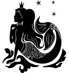 silhouette mermaid sitting on the stone vector image