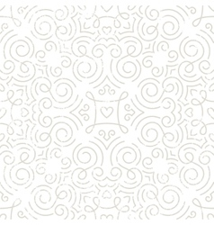 Silver vintage wallpaper with swirls and hearts vector image