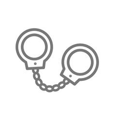 simple handcuffs manacle line icon symbol vector image