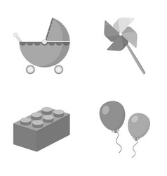 Stroller windmill lego balloonstoys set vector