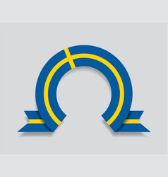 swedish flag rounded abstract background vector image