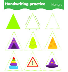 Triangle form objects handwriting practice vector