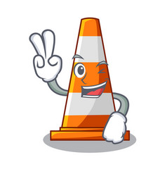 two finger traffic cone on made in cartoon vector image