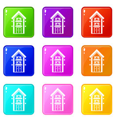 Two-storey house with balconies icons 9 set vector