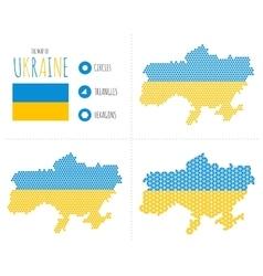 Ukraine Map in 3 Styles vector image