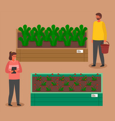 Urban farming gardening or agriculture woman vector