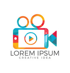 Video mobile logo design vector