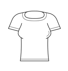 Woman tight t-shirt line icon vector