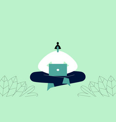 woman with laptop sitting in yoga pose vector image
