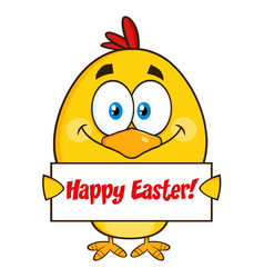 yellow chick character holding a happy easter sign vector image