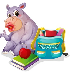 a buffalo with school bag vector image