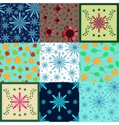 Botanical Seamless Patterns Set vector image