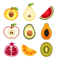 Halve Fruits Icons vector image vector image