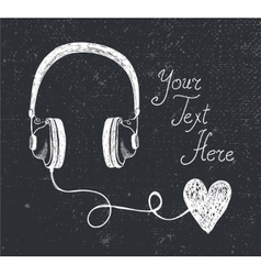 retro hand drawn doodle headphones vector image