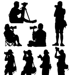 silhouette of photographer vector image