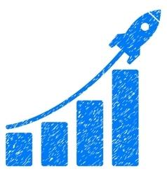 Startup Rocket Bar Chart Grainy Texture Icon vector image