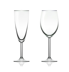 Transparent Empty Wine And Champagne Glass vector image
