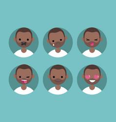young black man profile pics set of flat vector image vector image