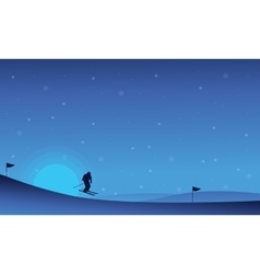 At night happy people skiing in snow landscape vector image