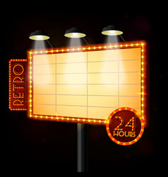 Blank illuminated billboard poster vector image