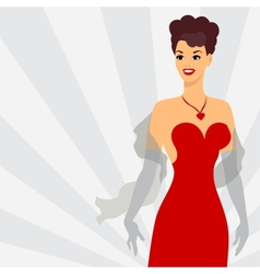 Card with beautiful pin up girl 1950s style vector image