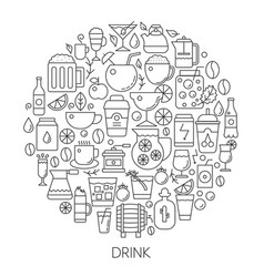 drink infographic icons in circle - concept line vector image vector image