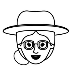 female face with glasses and hat and collected vector image