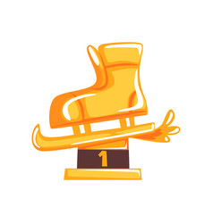 Figure skating award for first place in cartoon vector