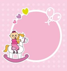 Girl riding a wooden horse vector image vector image