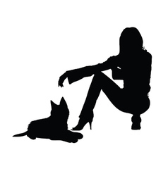 girl with cat silhouette vector image