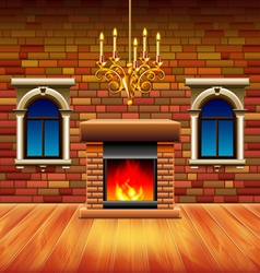 Vintage interior with wooden floor and fireplace vector image vector image