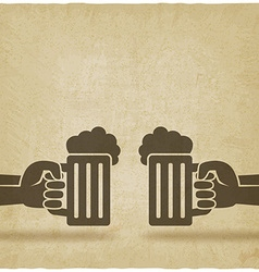 hands with beer mugs old background vector image vector image