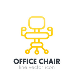 office chair icon in linear style over white vector image vector image