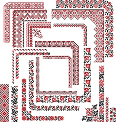 Set of Corner Patterns for Embroidery Stitch vector image vector image
