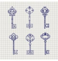 Set of sketch ornamental keys vector image