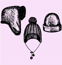 Winter hats headwear vector