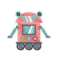 drawing robot cyborg machine futuristic vector image