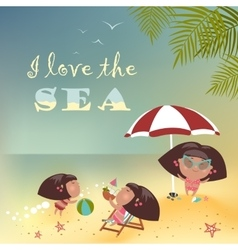 Girls relaxing on the beach vector image vector image