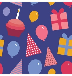 Happy birthday seamless pattern flat style set vector image