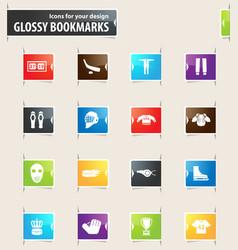 Hockey bookmark icons vector