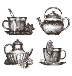 tea party logo design template drink or vector image vector image